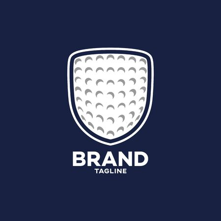 Modern shield and golf game logo.. Vector illustration.