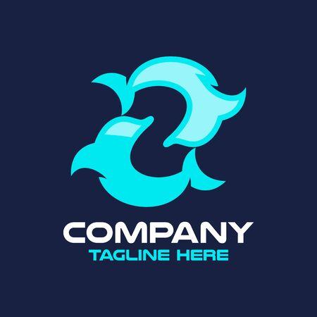 Modern dolphin and letter Z logo. Vector illustration.