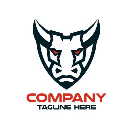 Modern bull in a shield logo.Vector illustration.