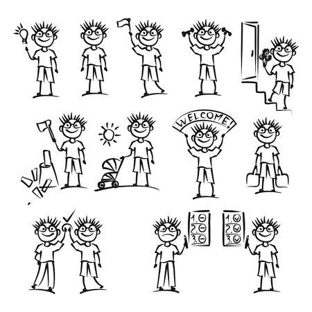 Hand drawn man icons. Vector illustration. Illustration