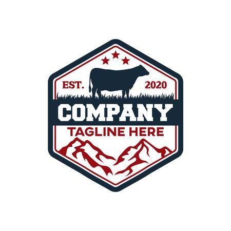 Modern badge Angus cow and farm logo. Vector illustration.
