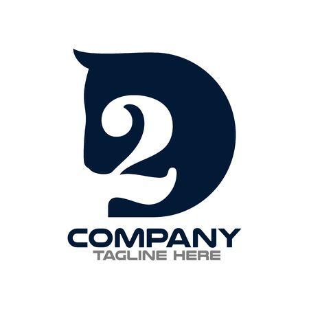 Two horses logo.Vector illustration.