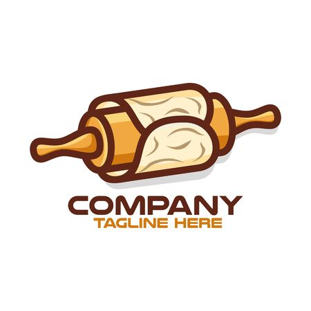 Rolling pin for pastry and baking logo.Vector illustration.