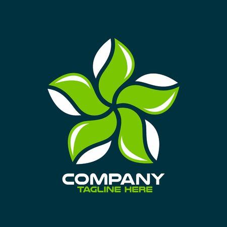 Green Star and Eco logo.Vector illustration.