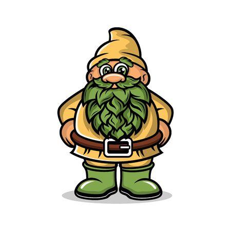 Cartoon Dwarf Mascot logo.Vector illustration.