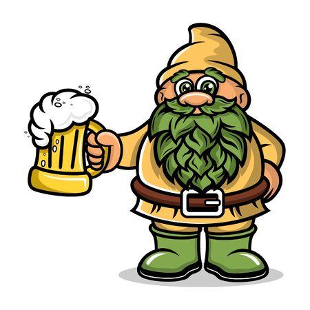 Cartoon Dwarf Mascot with a mug beer logo.Vector illustration. Illustration