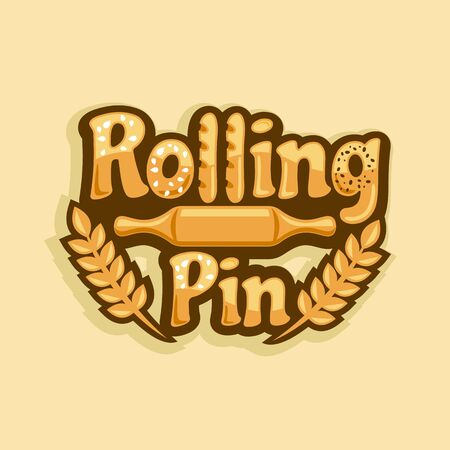 Baking and rolling pin logo.Vector illustration. Illustration