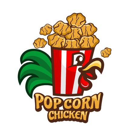 Pop Corn Chicken logo.Vector illustration.
