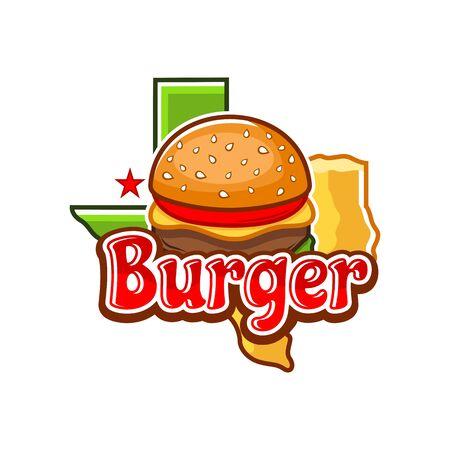 Burger and Texas Map logo.Vector illustration.