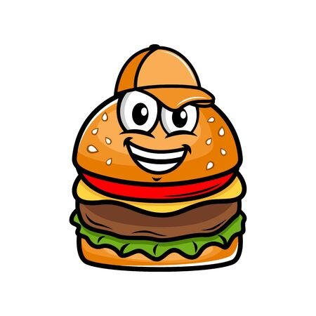 Burger Mascot in a Baseball Cap logo.Vector illustration.