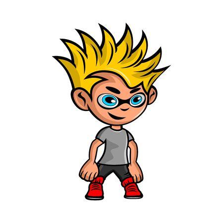 Cartoon Boy Mascot logo.Vector illustration.