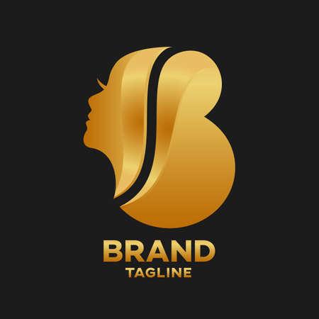Modern Beauty salon letter B logo.Vector illustration.