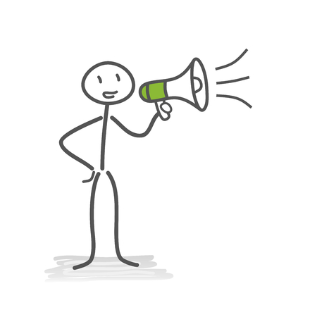 Businessman, megaphone, announcement
