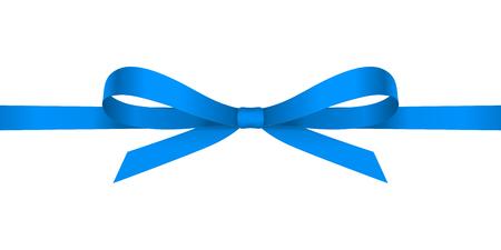 ブルー サテン蝶結び