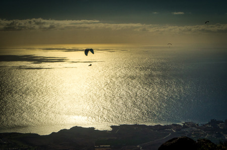 A silhouette of paraglider flyinh over an evening sea Stock Photo