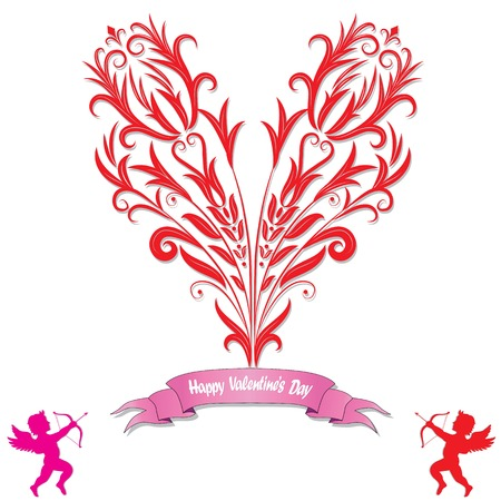 Heart Love Card Valentine Day Background With Flower Icon