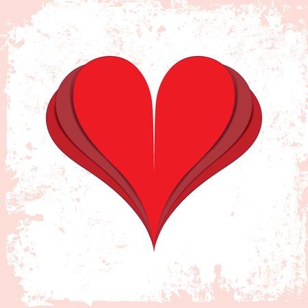 lovestruck: Vector love heart, paper valentine icon, romantic  Graphic design element isolated on white grunge background
