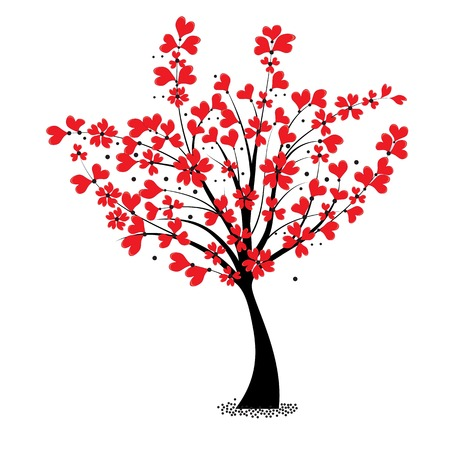 lovestruck: Valentine tree vector, flower shaped of heart  Love card  Wedding background