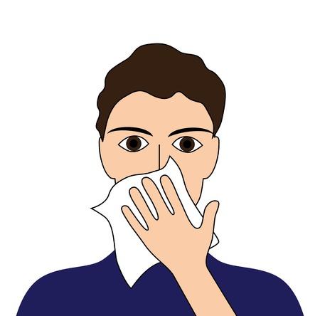 Bedek uw hoest zieke mensen ziek koorts griep verkoudheid niezen braaksel ziekte pictogram Vector Illustratie