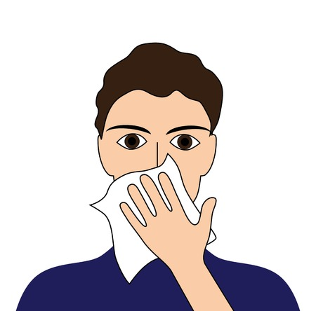 cough: Cover your cough sick ill fever flu cold sneeze vomit disease people pictogram  Illustration