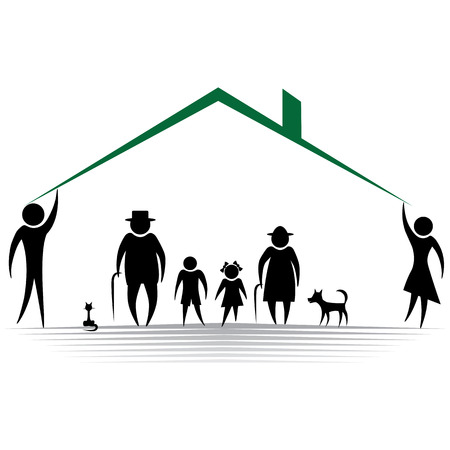 Silhouettes of woman man kid grandfather grandmother family, illustration  Element for design icon Çizim