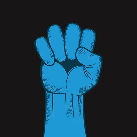 Clenched fist hand Victory, revolt concept  Revolution, solidarity, punch, strong, strike, change illustration
