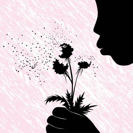 Girl women or kid blowing on dandelion flower illustration on grunge background  People child fun  Vector