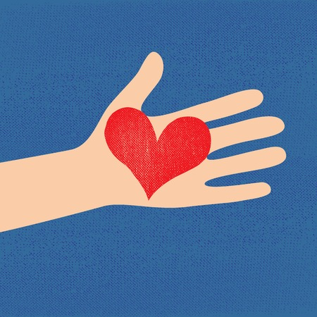 give a gift: Love red heart in hand to woman on grunge denim background   illustration