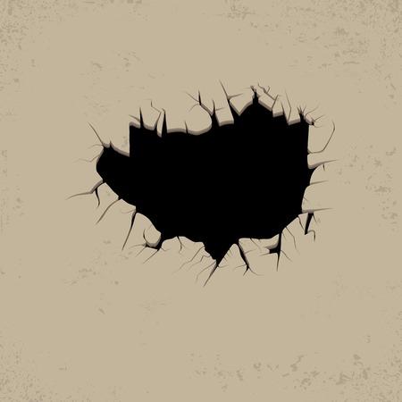 Grietas agujero en la pared Roto plantilla concreta para leporino contenido, aplastado, ilustración defecto Vectores