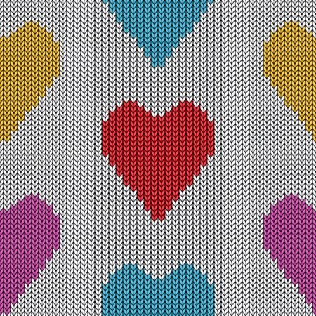Knitted heart  Valentine day card  Vector handmade seamless wool pattern  Abstract ornamental background  Vintage  embroidery illustration texture  Vector