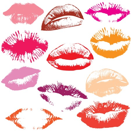 lip kiss: Lip print track set in tender kiss  Love valentine Illustration