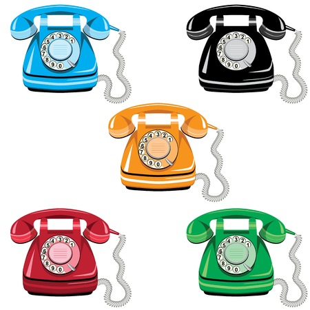 Telephone icon set, old rotary dial vintage phone on white