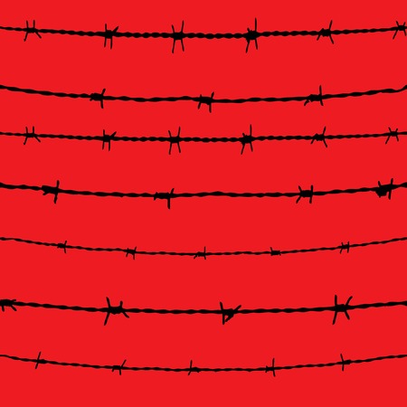 rope barrier: Barbed wire seamless background  fence illustration isolated  Protection concept design
