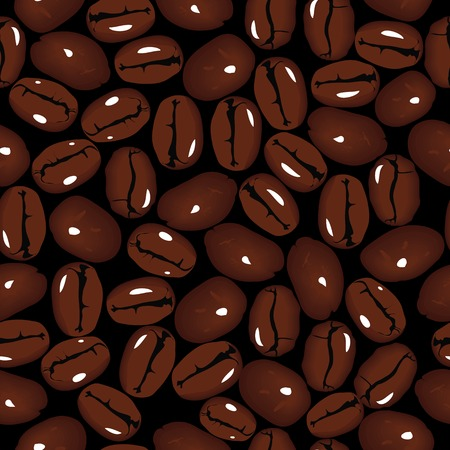 instant coffee: Coffee vector seamless beans background  illustration