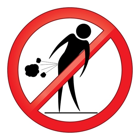 Forbid farting people sign circle  Prohibited red symbol isolated illustration