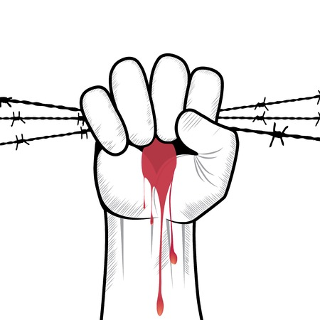 Clenched fist hand in blood with barbed wire vector  Victory, revolt concept  Revolution, solidarity, punch, strong, strike, change illustration  Element for design  Vector