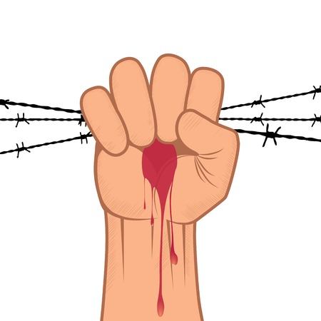 Clenched fist hand in blood with barbed wire Victory, revolt concept  Revolution, solidarity, punch, strong, strike, change illustration  Element for design  Vector