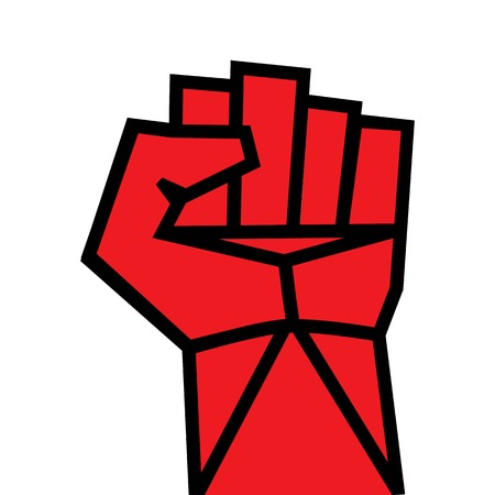 overturn: Fist red clenched hand Victory, revolt concept  Revolution, solidarity, punch, strong, strike, change illustration  Easy to change color  Illustration