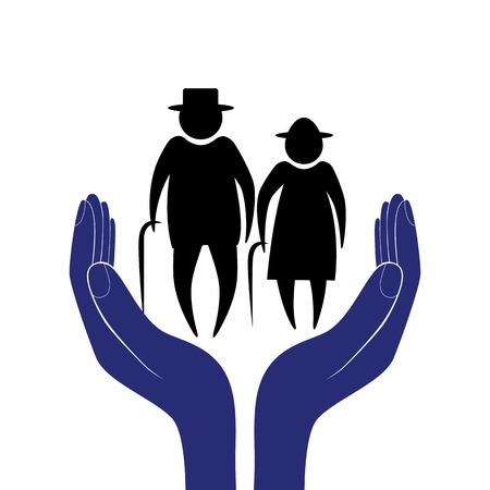 �ltere menschen: Hand in Menschen Ermutigung Hilfe Unterst�tzung moralischen Lebensversicherung von �lteren M�nnern und Frauen, Gesundheitswesen Sozial Person Illustration