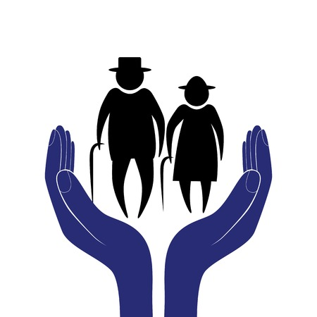 pension: Hand in people encouragement help  support moral  Life insurance of elderly men and women  Health care  Social person  Illustration