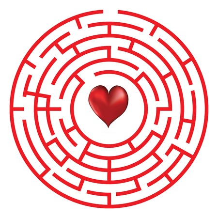 Love heart maze or labyrinth valentine s day illustration  Çizim