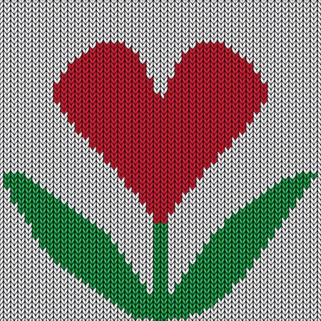 Knitted heart flower  Valentine day holiday  Vector handmade seamless pattern  Abstract ornamental background  Illustration texture  Vector