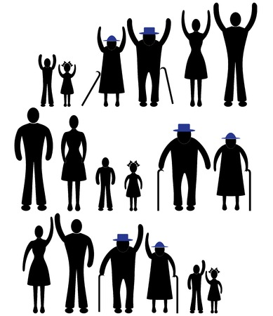 oldman: Happy Family Father Mother Grandmother Grandfather Children Son Daughter Baby Infant Toddler Old Man Woman Grandchildren Husband Wife Parent Together Icon Sign Symbol Pictogram