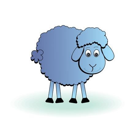 eat cartoon: Cartoon sheep, vector lamb  Funny mammal silhouette icon on a white  Illustration