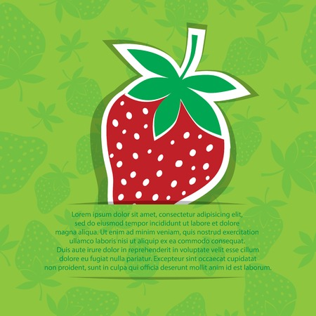 Strawberry in pocket banner on seamless vector pattern  Berry sticker isolated on white  Vector