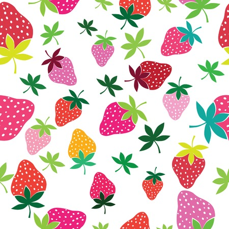 Seamless strawberry pattern  Berry isolated on white background