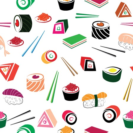 Sushi asian food seamless set  Details of japanese cuisine background - ingredient, fish  Vector illustration  Vector