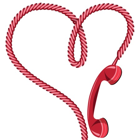 reciever: Phone reciever and cord as heart  Love hotline concept for valentine