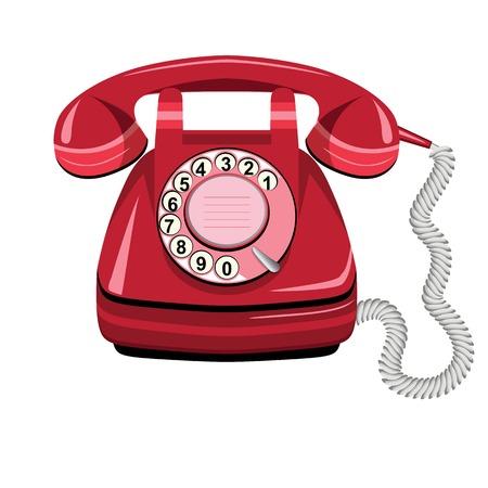 vintage telefoon: Telefoon pictogram rood, vector oude roterende ouderwetse telefoonlijn op wit