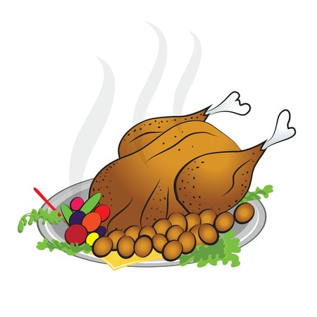roasted turkey for happy thanksgiving day illustration  Vector